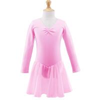新款儿童舞蹈服装练功服秋季长袖女童公主雪纺裙粉色开扣芭蕾舞裙
