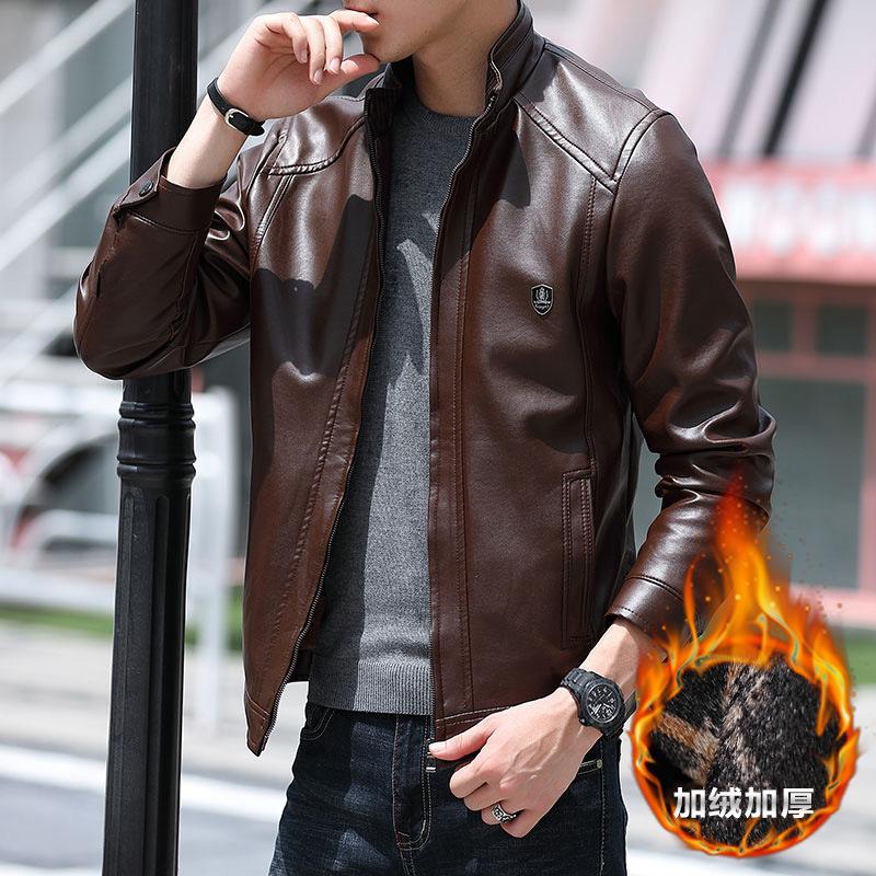 秋季男款皮衣外套新款春秋加绒加厚潮流青年帅气pu皮夹克