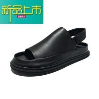 新品上市夏季男士增高凉鞋男厚底真皮18韩版百搭个性透气休闲沙滩鞋 黑色