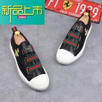 新品上市潮流男鞋韩版一脚蹬懒人豆豆鞋内增高休闲板鞋鞋