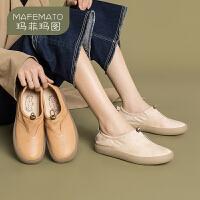 玛菲玛图ins小皮鞋英伦单鞋复古女鞋文艺学院风平底鞋女2020春款新款鞋女3982-5W