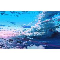 1000片木质拼图定制500唯美风情卡通动漫画 蓝色天空