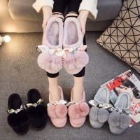 冬季棉拖鞋女新款厚底室内加绒可爱冬天保暖增高坡跟高跟防水