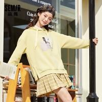 森马卫衣女秋季2020新款宽松连帽套头衫上衣韩版潮流女装甜美衣服