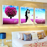 现代客厅装饰画婚庆卧室床头挂画壁画无框画水晶画三联玫瑰花 22