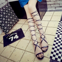 款夏季平底系带后拉链绑腿罗马凉靴韩版学生绑带凉鞋女鞋 黑色