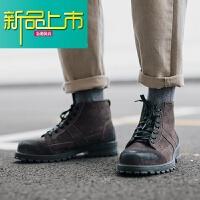 新品上市秋季男鞋买东西冬季短靴子潮流中帮英伦风雪地工装靴休闲高帮鞋男