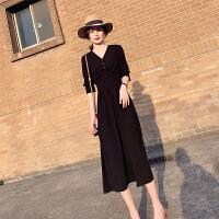 法式复古小众仙女裙2020春款新款黑色V领收腰显瘦气质长款连衣裙