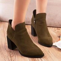 【经典】【牛皮】增高纯色女士优雅短靴休闲靴粗跟加绒侧拉链性感尖头及踝靴简约气质纯色女士低帮高跟鞋