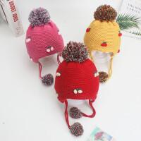 婴儿帽子秋冬季3-6-12个月1岁宝宝帽子冬女孩2护耳加绒加厚毛线帽