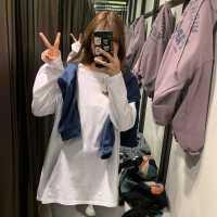 打底衫女春季2020新款韩版宽松长袖中长款白色T恤内搭秋装上衣潮