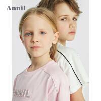 【2件4折价:147.6】安奈儿童装男女童夏季套装2021新款洋气运动风中大童T恤裤子套装