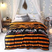 法兰绒毛毯加厚珊瑚绒毯子冬季宿舍保暖床单单双人云午休盖毯y 桔色 青春无限