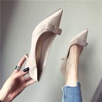 女鞋春季百搭复古风女士高跟鞋时尚浅口尖头细跟女鞋黑