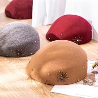 羊毛帽子女士冬天保暖百搭复古贝雷帽秋冬季时尚优雅名媛法式礼帽