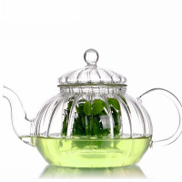 红兔子过滤玻璃茶壶套装 功夫茶具南瓜条纹壶