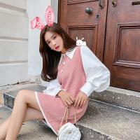 卡贝琳女2019新款秋装很仙的法国小众粉色针织连衣裙娃娃领心机裙子设计感裙子女