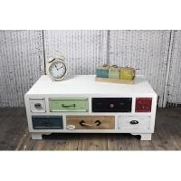 简约地中海茶几 欧式实木家具简约客厅茶几电视柜组合美式乡村北欧复古创意 整装