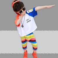 童装男童夏装套装时尚小童短袖潮衣帅儿童洋气两件套