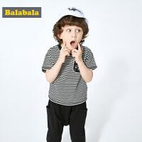 【7折价:69.93】巴拉巴拉童装男童套装宝宝夏装新款儿童衣服小孩条纹短袖裤子
