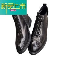 新品上市冬季加绒男靴靴男真皮中帮马丁靴男短靴纹英伦高帮皮鞋
