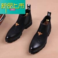 新品上市冬季男士皮靴子尖头马丁靴加绒英伦短靴厚底增高型师高帮皮鞋潮