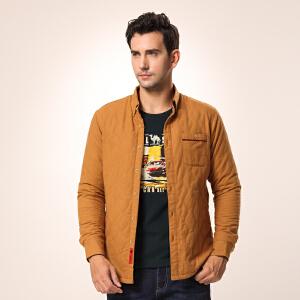 骆驼男装 微弹立领开衩长袖衬衫 青春流行棉质纯色衬衫 男