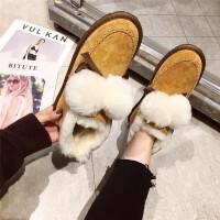 雪地靴女冬季新款时尚真皮加绒羊毛舒适保暖蝴蝶结可爱毛毛球棉靴