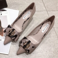 高跟鞋女春季2019新款韩版百搭法式少女黑色蝴蝶结尖头细跟单鞋子