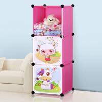 蜗家 卡通衣柜 简易儿童宝宝婴儿收纳柜组合塑料树脂组装衣橱衣柜