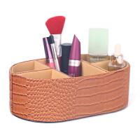 时尚鳄鱼纹桌面整理盒子 创意家用梳妆台化妆品盒首饰盒 办公文具收纳盒抖音 黄色鳄鱼纹(单个装)