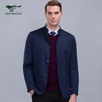 七匹狼夹克青年男时尚商务休闲立领单排扣外套