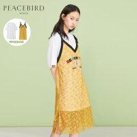 蕾丝两件套连衣裙女夏季2019新款黄色裙子小清新仙女裙太平鸟女装