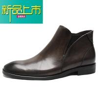 新品上市欧美复古男靴 英伦方头皮靴商务正装皮鞋靴男短靴手工靴子