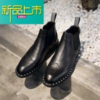 新品上市马丁靴男中帮短靴英伦高帮皮鞋男鞋铆钉尖头个性型师靴子