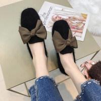 毛毛拖鞋秋款鞋子女2018新款韩版ulzzang包头半托鞋平底穆勒鞋女