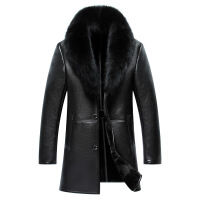 海宁男装皮草中长款皮衣男士皮毛一体绵羊皮大衣冬外套