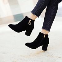 马丁靴裸靴尖头大码靴子女2018秋冬新款磨砂短靴绒面高跟鞋粗跟 黑色