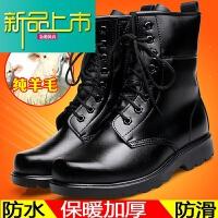 新品上市冬季加绒棉鞋羊毛保暖皮靴系带棉靴长筒高帮马丁男士雪地靴子