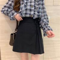 春夏韩版女士时尚套装宽松格子衬衣长袖衬衫+显瘦半身短裙两件套 均码
