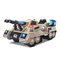 儿童电动坦克四轮童车小孩遥控车汽车可坐人宝宝对战玩具童车 迷彩黄