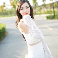 夏季雪纺蕾丝素色防晒袖套手套 简约长款遮阳防紫外线 白色袖套手套