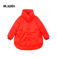 【2件88/3件8折后到手价:431.2元】马拉丁童装女大童中长款羽绒服冬装新款斗篷设计红色羽绒服