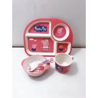 儿童餐盘分格竹纤维餐具套装宝宝家用吃饭碗防摔小猪佩奇碗勺 红色 5件套带柄水杯