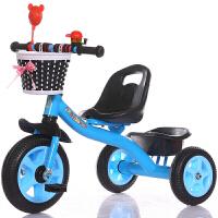 三轮车脚踏车小孩单车1-3-5-2-6岁大号手推车男女宝宝自行车 蓝色 大s豪华蓝色
