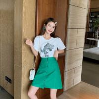 卡贝琳女2019新款气质女神范御姐套装洋气时尚小个子法式小众牛油果绿半身裙两件套