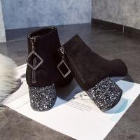 鞋子女2018新款女鞋亮片粗跟绒面短靴显瘦马丁靴女冬弹力瘦瘦靴 黑色