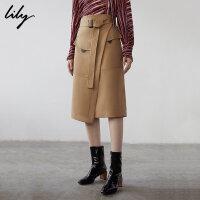 【2件4折到手价:183.6元】 Lily春新款女装商务工装感不对称中长A字半身裙119100C6213