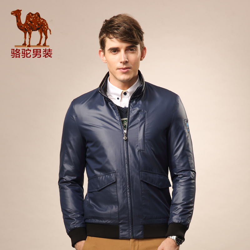 骆驼男装 新款翻领商务休闲长袖外套 修身拉链纯色夹克男士
