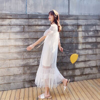 白色网纱两件套连衣裙女春装2019新款小心机打底裙子仙女裙太平鸟